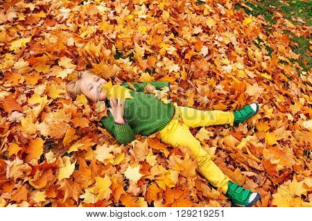 Autumn portrait of a cute little boy of 4 years old, playing with yellow leaves in the park, wearing yellow trousers, green pullover and shoes