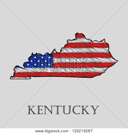 State Kentucky in scribble style - vector illustration. Abstract flat map of Kentucky with the imposition of US flag.