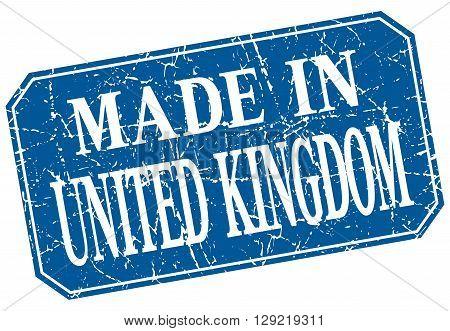 made in United Kingdom blue square grunge stamp