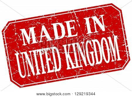 made in United Kingdom red square grunge stamp