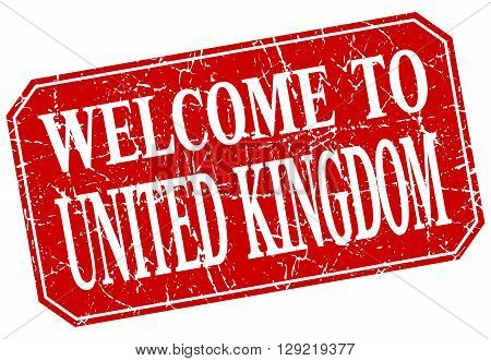 welcome to United Kingdom red square grunge stamp