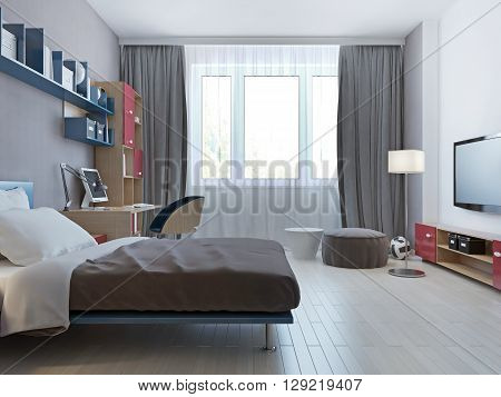 Bright bedroom minimalist style with single bed for children. 3D render