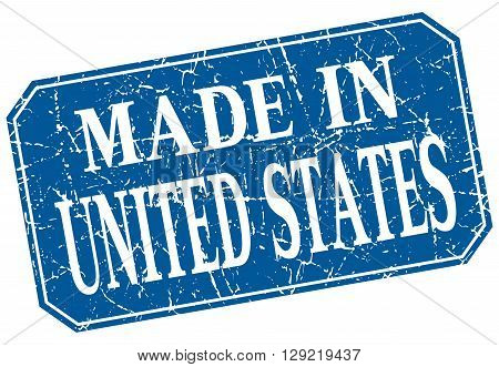made in United States blue square grunge stamp