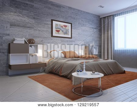 View of modern bedroom interior. Luxury double bed with white headboard and furniture mounted on both sides in white and taupe colors. 3D render