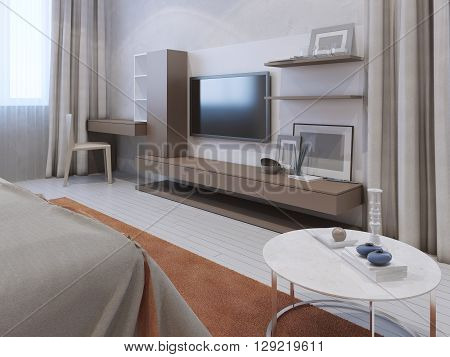 Interior of a modern bedroom with wall mounted tv. 3D render