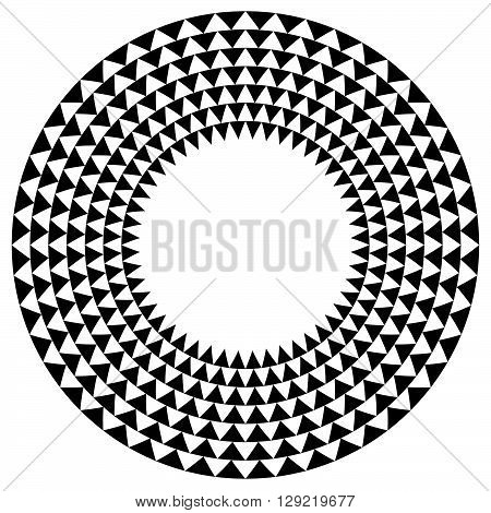 Circle With Triangle Pattern - Textured Circular Element With Triangle Shapes.