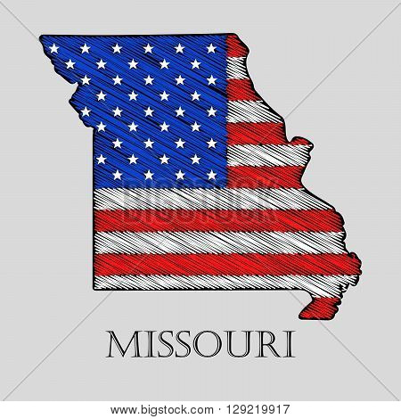 State Missouri in scribble style - vector illustration. Abstract flat map of Missouri with the imposition of US flag.