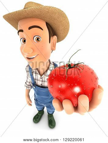 3d farmer holding a fresh tomato illustration with isolated white background