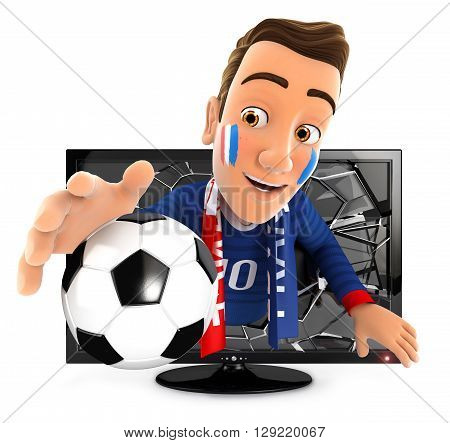 3d french soccer fan coming out of television isolated white background