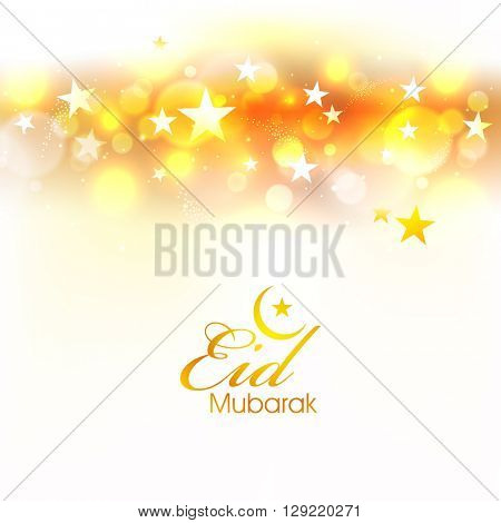 Beautiful stars decorated shiny sparkling background for Muslim Community Festival, Eid Mubarak celebration.