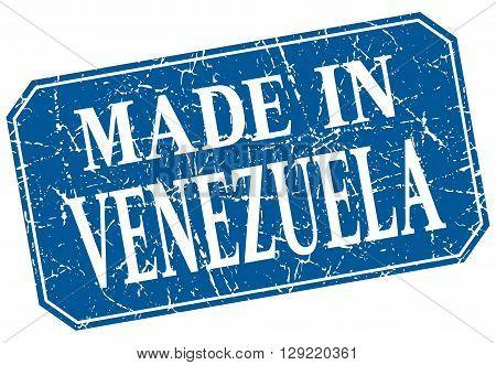 made in Venezuela blue square grunge stamp