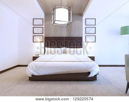 Modern bedroom with wood decorations on the walls hotel room with white walls and carpet flooring. 3D render