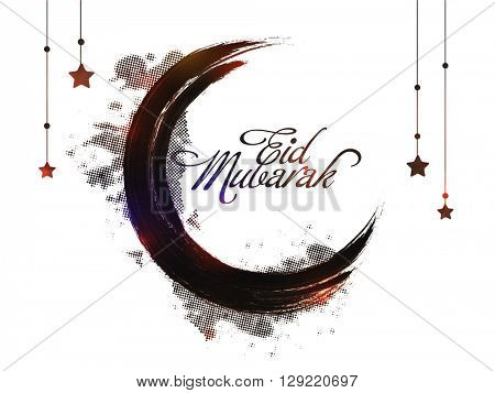 Creative crescent Moon made by paint stroke on stars decorated background for Muslim Community Festival, Eid Mubarak celebration.