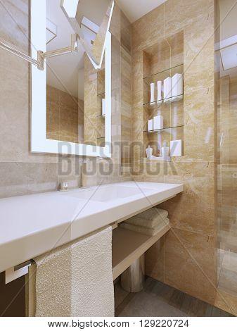 Luxury bathroom interior. Sink console with white ceramic countertop niche mirror with frame light. 3D render