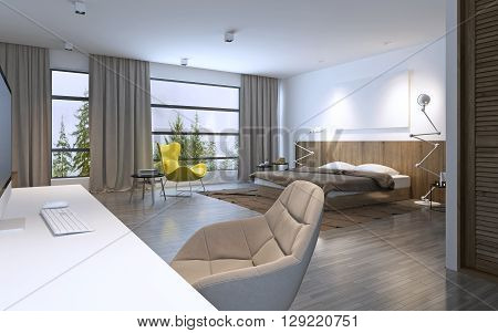 Spacious bedroom modern style. Large horizontal window and entrance to balcony brown furniture white walls and dark wood linoleum flooring. 3D render