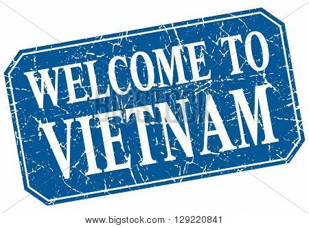 welcome to Vietnam blue square grunge stamp