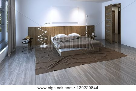 Beautiful spacious bedroom in the cottage house. 3D render