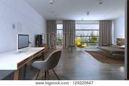 Spacy bedroom in daylight with included lights. Rainy outside. 3D render