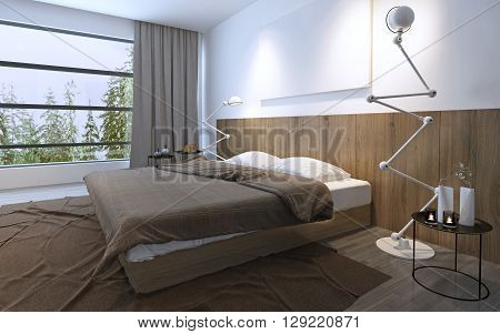 Bright bedroom with panoramic window in brown colors. Minimalism in interior spacy room. 3D render
