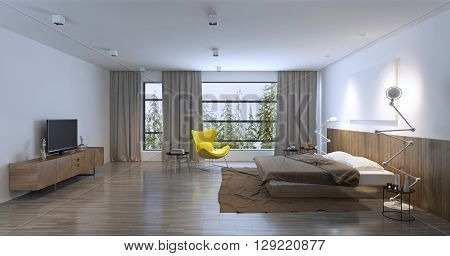Spacious bedroom with entrance to balcony. 3D render