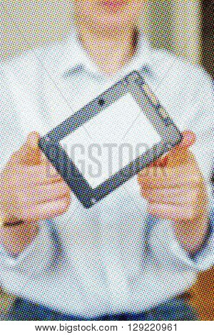 Offset pixelated image of hands holding fast flash SSD - solid state drive with sata 6 gb connection