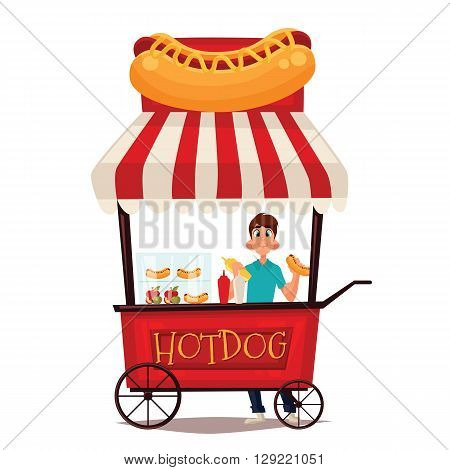 Street vendor course dogs, comic cartoon illustration on a white background, mobile store fast fudom, street hot dog cart