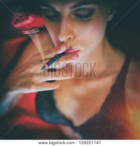 colorful portrait attractive girl smoke cigarette, dark scene ** Note: Visible grain at 100%, best at smaller sizes