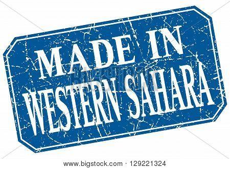 made in Western Sahara blue square grunge stamp