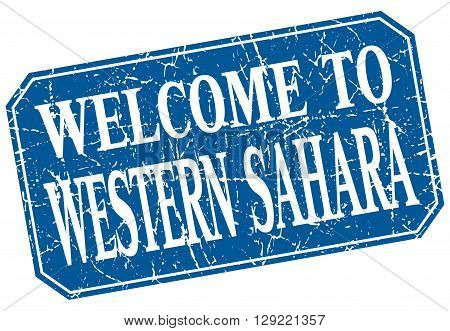 welcome to Western Sahara blue square grunge stamp