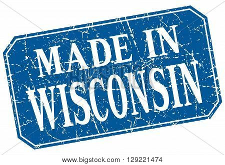 made in Wisconsin blue square grunge stamp