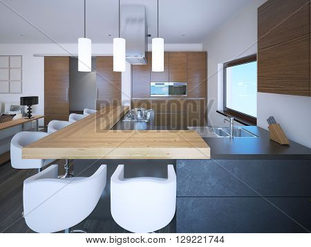 Bright kitchen studio art deco style. White walls and brown cabinets in zebrano. 3D render