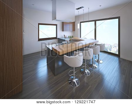 Spacious kitchen with island bar. Large floor-to-ceiling panoramic windows laminate flooring. 3D render