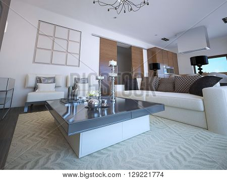 White lounge with classic furniture low table with decorations patterned carpet. 3D render
