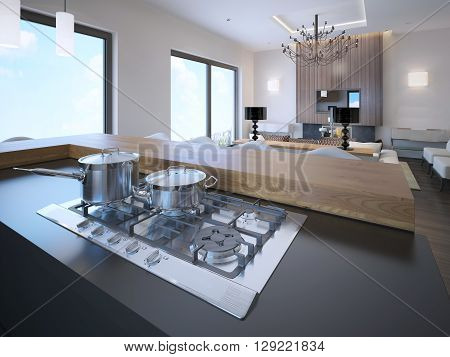 Pots on a gas stove in avant garde studio apartments. 3D render
