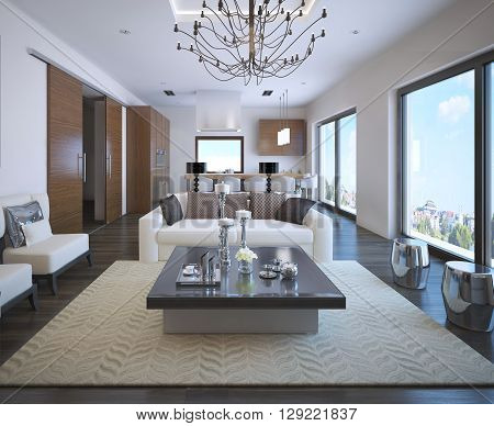 Kitchen and living room of OntoArt apartment. Exclusive furniture. 3D render