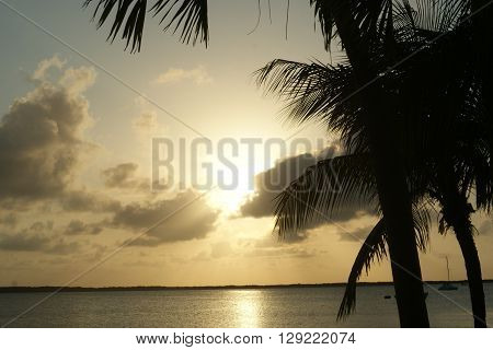 Sunset sky background in Key Largo, Florida.