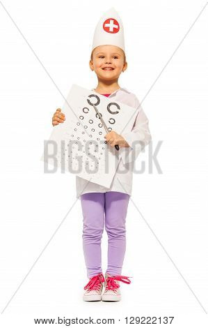 Whole-length portrait of smiling girl playing oculist with pointer and testing card, isolated on white