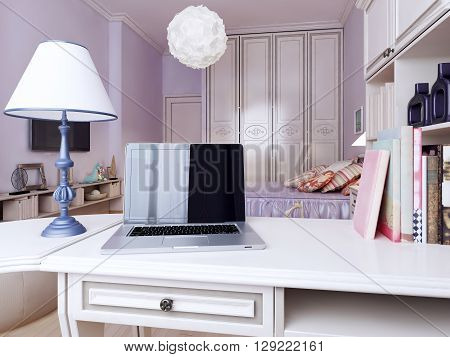 The working area for study. This is an example of a well-designed bedroom with purple walls and medium tone hardwood floors. 3D render.