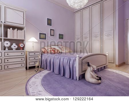 Art deco cozy bedroom idea. Spacious room with purple walls a large wardrobe a large bed and a round rug is perfect for teen girls. 3d render