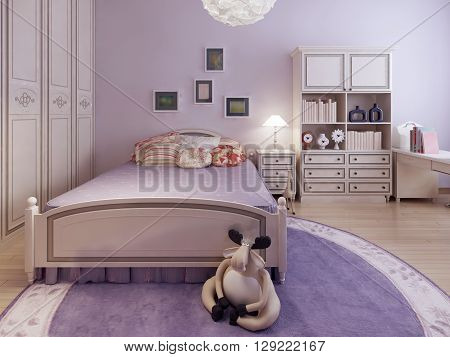 Trend of spacious teenagers bedroom. 3d render