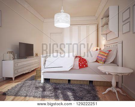 Design of art deco bedchamber. 3d render