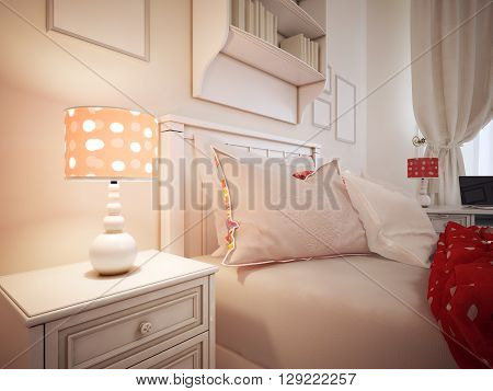 Pillows on a bed of hotel room. Upholstered bed with pillows and a red blanket. Classic table lamp with shade. 3D render