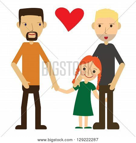 Vector Illustration of a Happy Gay Couple with a kid. Isolated on white background. Standing, holding hands, smiling, loving. Two dads and one cute little daughter.