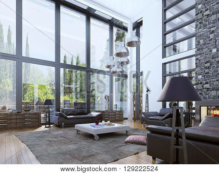 Two-storey modern living room with panoramic windows. Unity with nature interior. Bright design of living room with white walls and fireplace for young people. 3D render