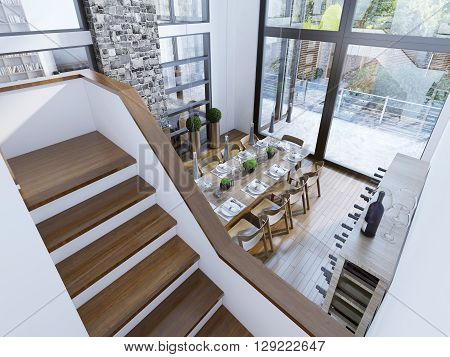Top view of a modern dining room design. Spacious room with two-story paronamnymi windows a fireplace with a stone chimney and a wine bar. The contrast of white and brown in a modern interior. 3D render