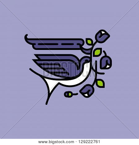 Swallow and purple flowers. Neo traditional old school American tattoo style vector illustration