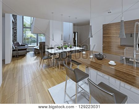 Kitchen with dining area. Combined dining room with kitchen. The contrast of white and brown. Table for eight people and a bar. 3D render