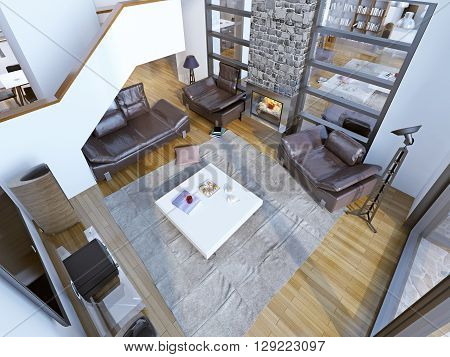 Idea of modern high-ceiling lounge room. Living room with leather furniture white table in the center two-story fireplace and huge panoramic windows. A fireplace with two rooms. Wall with windows to the second room. 3D render