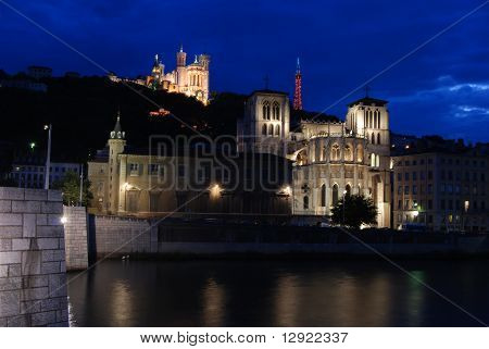 Night view of Fourviere and Lyon Cathedral