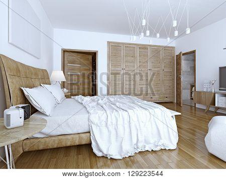 Unmade bed in minimalist bedroom. 3D render